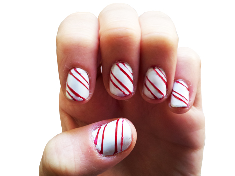 Tessa's Homemade -- Candy Cane Nails