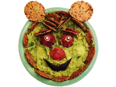Ewok Guacamole in Bowl with Eyes and crackers